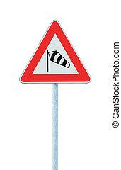probable, trafic, windsock, poteau, cadre, croix, sidewind, poste, route, danger, signage, isolé, icône, signe, roadsign, poteau indicateur, devant, chaussette, avertissement, danger, vents, rouges, soudain, côté, crosswinds, voler, triangle