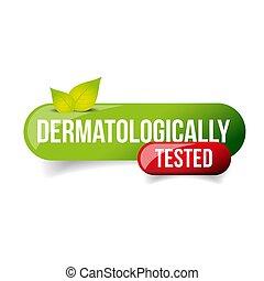 probado, botón, vector, dermatologically