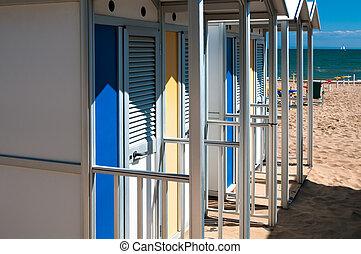 probador, en la playa