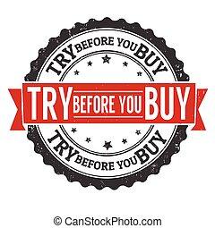 probar, estampilla, usted, comprar, antes