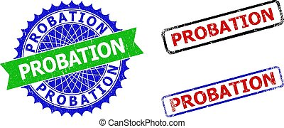 PROBATION Rosette and Rectangle Bicolor Watermarks with Unclean Textures