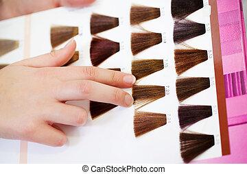 proben, farbe, hand, haar, client's, wählen