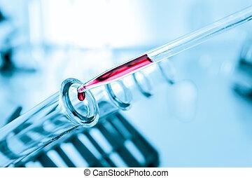 probetas, closeup.medical, glassware.test, tubos, primer plano, en, fondo azul
