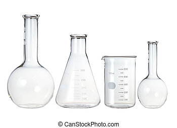 probetas, cristalería laboratorio, aislado, white.