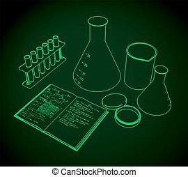 probetas, cuaderno, frascos, laboratorio