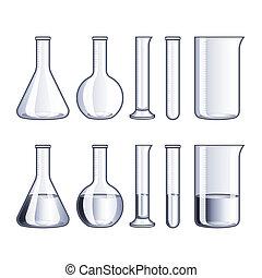 probetas, vidrio, frascos, vector, aislado