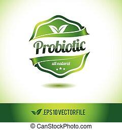 probiotic, odznaka, etykieta, znak