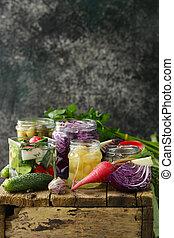 probiotic, pickled, gisting, groentes