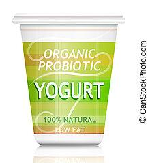 Probiotic yogurt. - Illustration depicting a single organic ...
