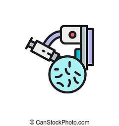 probiotics, microscope, ligne, icon., bactérie, couleur, sous, plat