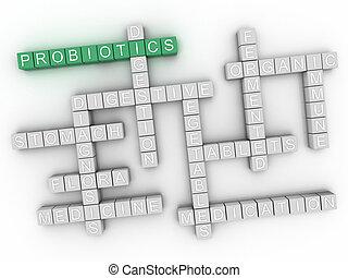 probiotics, pojęcie, słowo, chmura, 3d