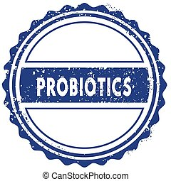 PROBIOTICS stamp. sticker. seal. blue round grunge vintage ribbon sign