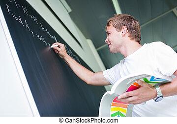 problème, étudiant, résoudre, math, collège