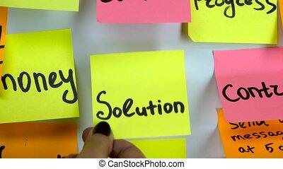 problème, autocollant, mot, solution, changement