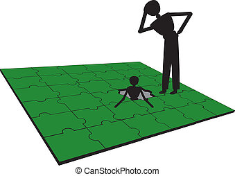 problème, gens, puzzle, avoir