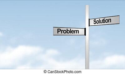 problème, solution, poteau indicateur