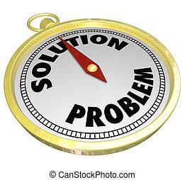 problème, vs, solution, or, compas, mener, à, réponse, défi