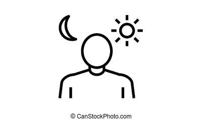 problèmes, icône, animation, ligne, sommeil