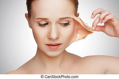 problèmes, rajeunissement, soin peau, concept, renouvellement, beauté