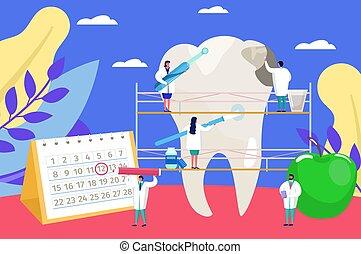 probléma, fogász, apró, fogászati vizsga, törődik, orvosok, kivizsgálás, háttér, ábra, munka, vektor, emberek, lakás, karikatúra, fog