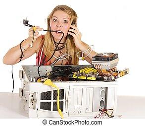 probléma, nő, számítógép