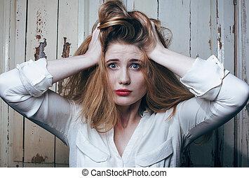 probleem, depressioned, tiener, met, messed, haar, en,...
