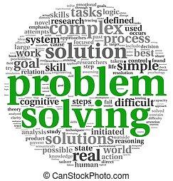 probleem oplossen, in, woord, label, wolk, op wit