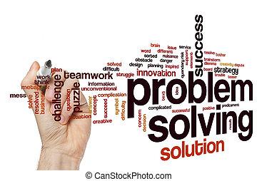 probleem oplossen, woord, wolk