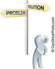 probleem, oplossing, of, keuze