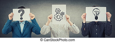 Problem analysis solution concept as anonymous group of people cover heads using white paper with different symbols as question mark, cogwheels and lightbulb