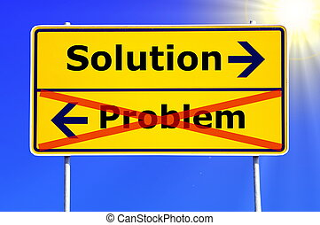 problem and solution concept with yellow road sign...