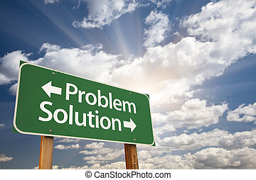 Problem and Solution Green Road Sign Over Clouds - Problem ...