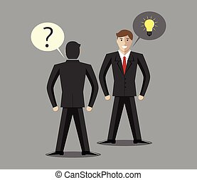 Man with question or problem and man with answer, solution or creative idea. Consulting, problem, question, solution, idea concept. EPS 10 vector illustration, no transparency