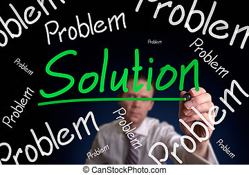 Problem and Solution - A businessman drawing a, no matter...