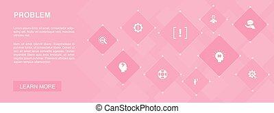 problem banner 10 icons concept. solution, depression, ...
