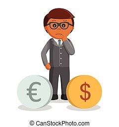 problem, człowiek, dolar, handlowy, euro