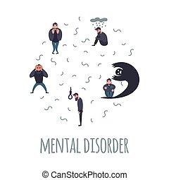 problem., groupe, psychiatrique, gens