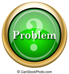 Problem icon - Green shiny glossy icon on white background.