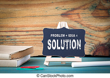 Problem, Idea, Solution. education concept. small wooden board with chalk on the table