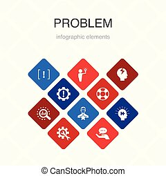 problem Infographic 10 option color design. solution, ...