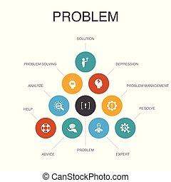 problem Infographic 10 steps concept. solution, depression, ...