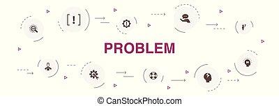 problem Infographic 10 steps template. solution, depression...