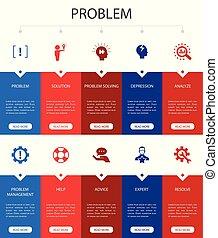 problem Infographic 10 steps UI design. solution, depression...