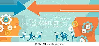 problem, kierownictwo, konflikt, handlowy