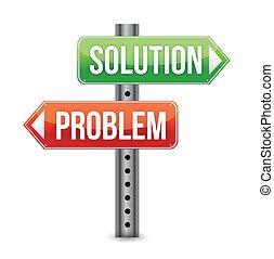 problem, lösning, vägmärke, illustra