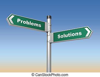 problem, lösningar, vägmärke