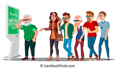 Problem Of Cash Withdrawal, Big Line Of People To Atm Vector. Isolated Illustration