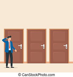 Make your choice. Man having a choice in front of three doors. Decision making.