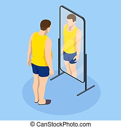 Problem of excess weight and health. Isometric Fat man looks in the mirror and sees herself as slim. Health risk, obesity
