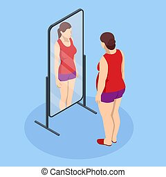 Problem of excess weight and health. Isometric Fat woman looks in the mirror and sees herself as slim. Health risk, obesity